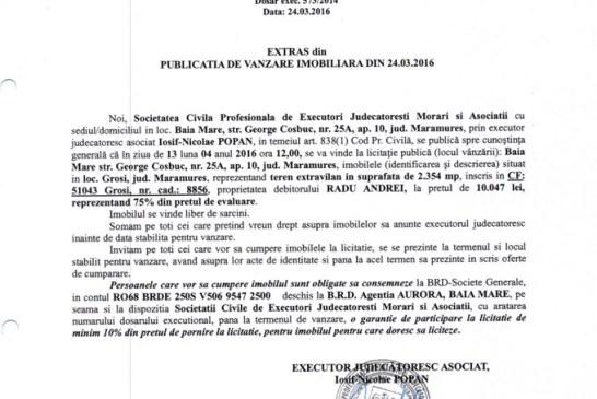 Vanzare teren extravilan in Grosi – Extras publicatie vanzare imobiliara, din data de 24. 03. 2016