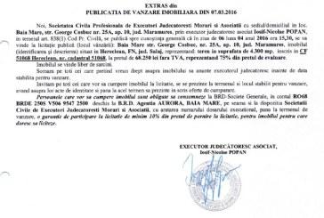 Vanzare teren in Hereclean, judetul Salaj – Extras publicatie vanzare imobiliara, din data de 07. 03. 2016