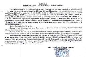 Vanzare apartament si drept folosinta teren in Baia Mare – Extras publicatie vanzare imobiliara, din data de 29. 03. 2016