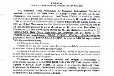 Vanzare garaj in Baia Mare – Extras publicatie vanzare imobiliara, din data de 11. 03. 2016