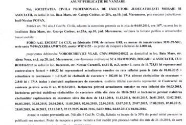 Vanzare Ford Escort – Extras publicatie vanzare mobiliara, din data de 04. 04. 2016