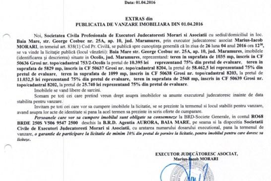 Vanzare terenuri in Grosi si Ocolis – Extras publicatie vanzare imobiliara, din data de 01. 04. 2016