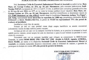 Vanzare teren intravilan in Ciumarna, judetul Salaj – Extras publicatie vanzare imobiliara, din data de 01. 04. 2016