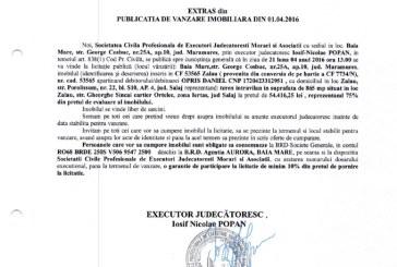 Vanzare teren intravilan in Zalau – Extras publicatie vanzare imobiliara, din data de 01. 04. 2016