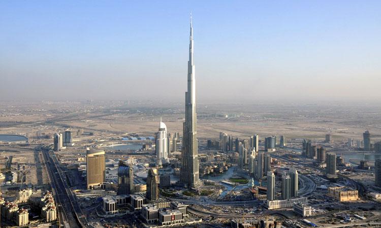 An aerial view of Burj Dubai is seen in Dubai