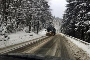 Ninge in Pasul Gutai, Viseu de Sus si Borsa. Drumarii au imprastiat 67 tone de sare. Vizibilitate buna in trafic