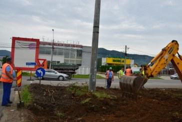 Baia Mare: Au inceput lucrarile de amenajare a sensului giratoriu dintre Bulevardul Independentei cu strada Europa