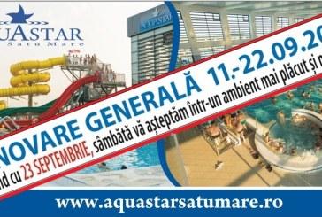 Renovare generala: AquaStar Satu Mare se inchide in perioada 11-22 septembrie