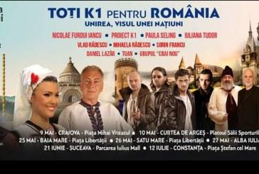 """Spectacolul """"Toti K1 pentru Romania – Unirea, Visul unei Natiuni"""" ajunge astazi in Baia Mare"""