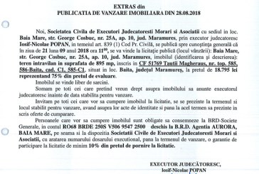 Vanzare teren intravilan in Baita – Extras publicatie imobiliara, din data de 28. 08. 2018