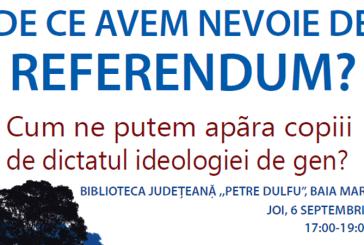 """La Biblioteca Judeteana, conferinta cu tema """"De ce avem nevoie de Referendum? Cum ne putem apara copiii de dictatul ideologiei de gen?"""""""