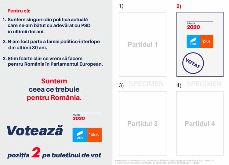 Voteaza Alianta 2020 USR PLUS!
