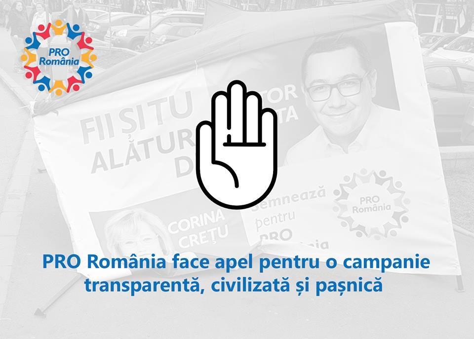 Alegerile pentru Parlamentul European: Pro Romania doreste o campanie corecta, transparent si civilizata