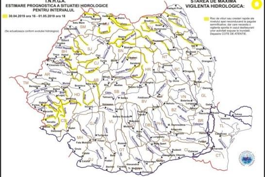 Maramures: Codul galben hidrologic este valabil pana astazi la ora 18:00