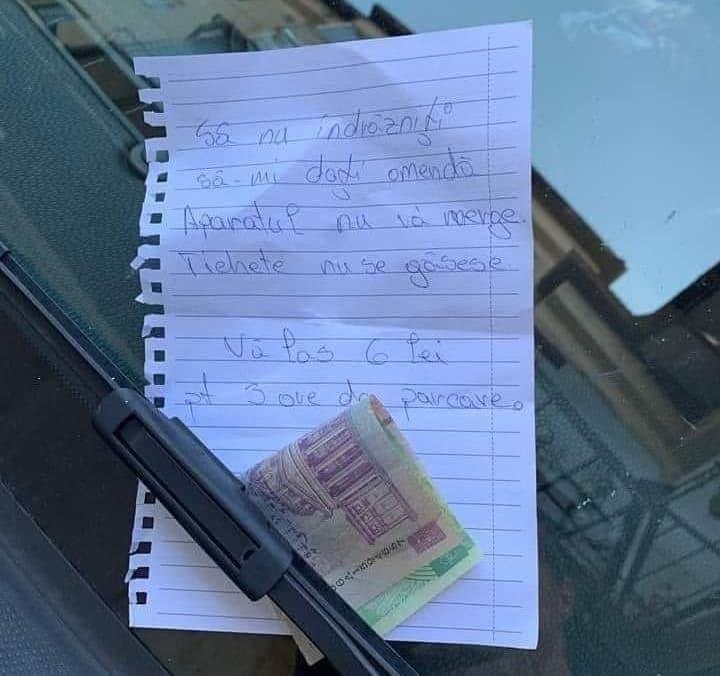 """""""Sa nu indrazniti sa-mi dati amenda!"""" este mesajul inedit lasat politistilor, de o tanara din Baia Mare, dupa ce si-a parcat masina"""