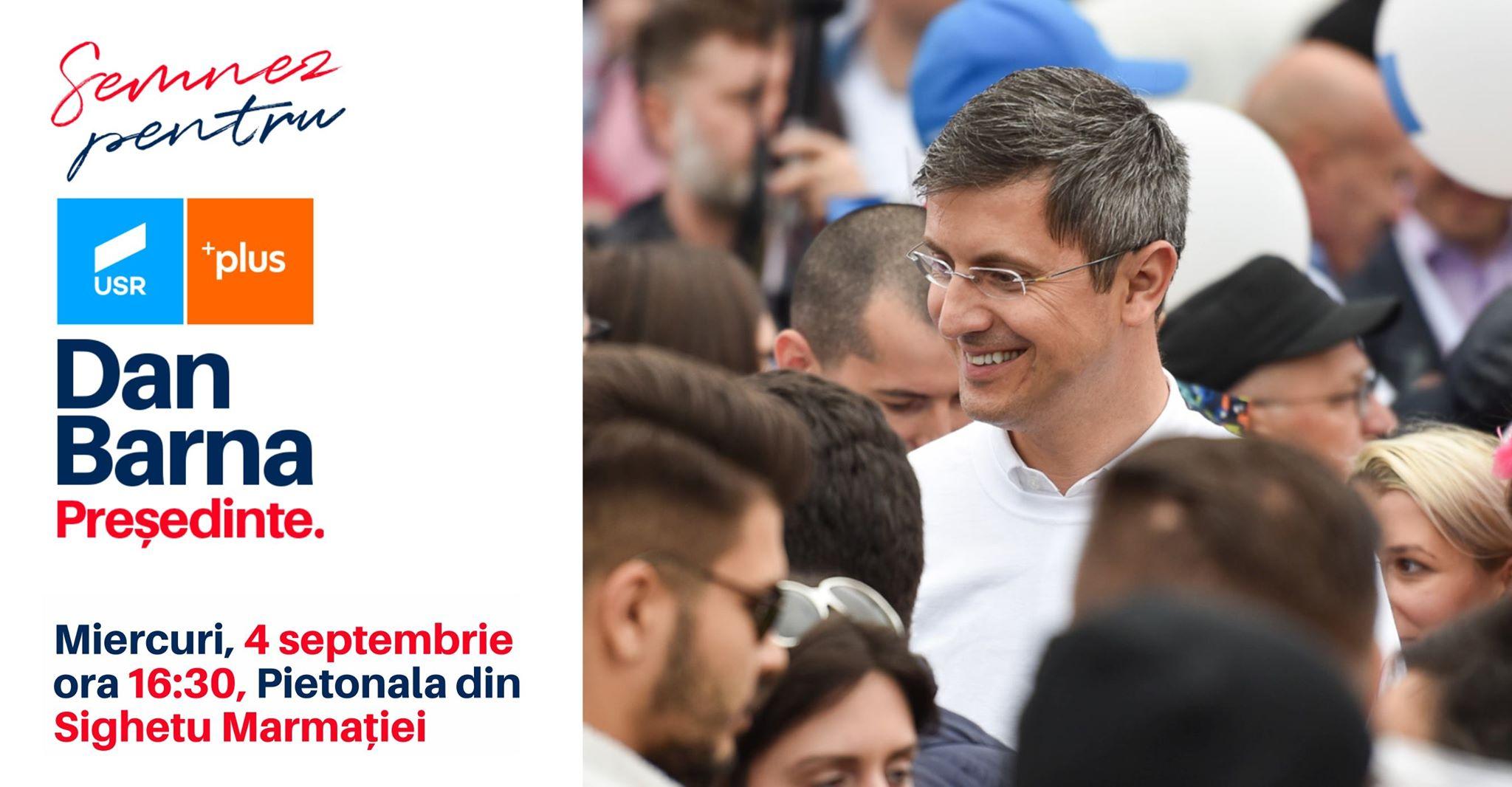 Dan Barna, candidatul Aliantei USR Plus la presedintie, in Sighetu Marmatiei si in Baia Mare