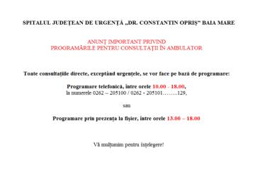 Noutăți privind efectuarea consultului în Ambulatoriul Integrat al Spitalului Județean Baia Mare