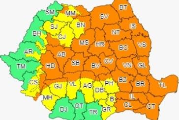Cod portocaliu de ploi torențiale în mai multe regiuni din țară