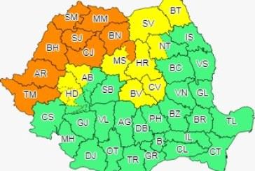 Cod portocaliu pentru Satu Mare, Maramureș, Sălaj, Cluj, Bistrița Năsăud, zona de munte a județului Mureș