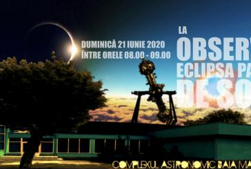 Eclipsa parțială de soare din 21 iunie va fi observată din curtea Planetariului băimărean