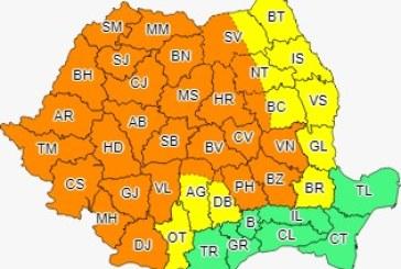 Cod portocaliu de ploi în Banat, Crișana, Transilvania, Maramureș, dar și în alte zone ale țării