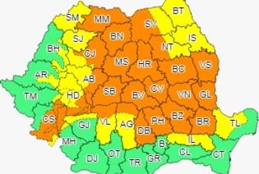 Cod portocaliu de ploi torențiale în Maramureș, Transilvania și Moldova