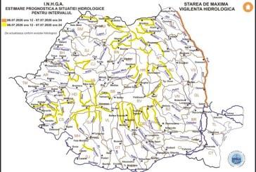 Cod galben pentru mai multe bazine hidrografice. Printre acestea se numără și Vişeu, Iza, Tur și Someş