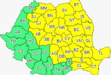 Cod galben de averse, descărcări electrice și intensificări ale vântului în mai multe județe din țară