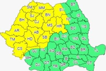 Avertizare meteorologică de cod galben în Banat, Crișana și Maramureș