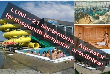 De LUNI – 21 septembrie, Imperiul Apelor Aquastar Satu Mare își suspendă temporar activitatea