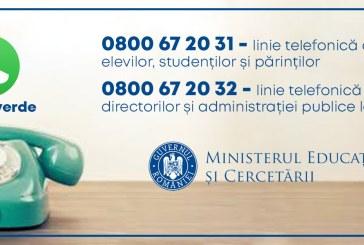 Sunt deschise linii Telverde destinate informării cu privire la începerea noului an școlar/universitar