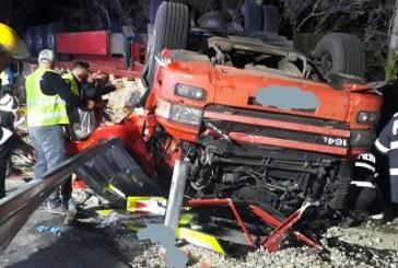 UPDATE – Accident mortal după ce un tir s-a răsturnat în Drăghia