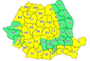 Cod Galben de vânt în aproape toată țara, valabil până în această seară la ora 19