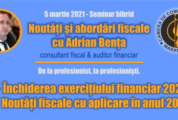 """Seminar de fiscalitate organizat de CCI MM: """"Noutăți și abordări fiscale cu Adrian Bența"""""""
