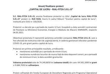 """(P) Anunț finalizare proiect """"CAPITAL DE LUCRU – RIAL-FITZA S.R.L-D"""""""