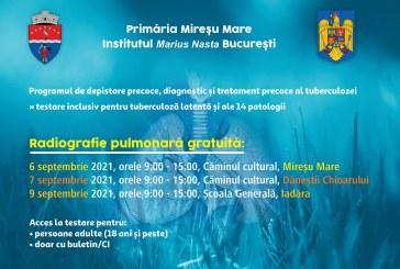 Radiografie pulmonară gratuită pentru locuitorii comunei Mireșu Mare