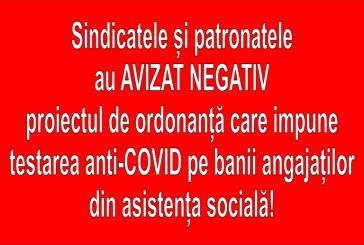 CORONAVIRUS – Aviz negativ testării anti-COVID a angajaților din asistența socială, pe banii proprii